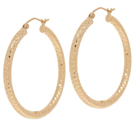 """As Is"" 14K Gold 1-1/2"" Diamond Cut Tube Hoop Earrings"