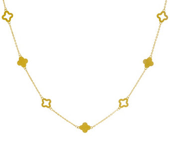 "14K Gold 18"" Adjustable Clover Station Necklace, 2.2g - J333625"