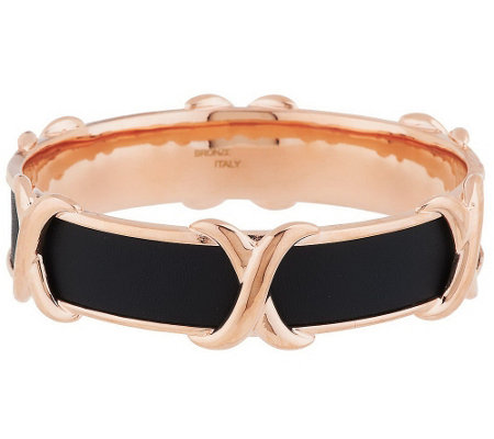 """As Is"" Bronze ""X"" Design Leather Inlay Round Bangle by Bronzo Italia"