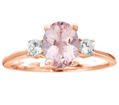 Premier 1.10cttw Morganite & 1/5 cttw Diamond Ring, 14K