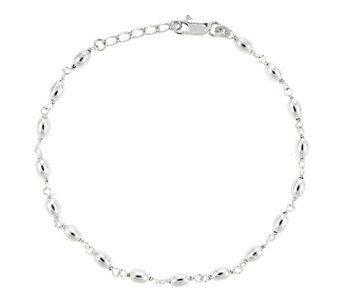 "Sterling 10"" Polished Oval Bead Station Ankle Bracelet - J336425"