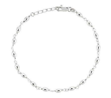 "Sterling 10"" Polished Oval Bead Station Ankle Bracelet"