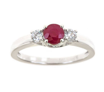 Premier 1/2cttw Round Ruby & Diamond Accent Ring, 14K Gold - J336725