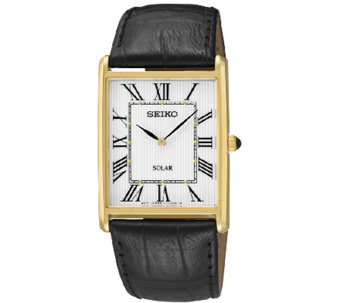 Seiko Men's Rectangular Goldtone Black LeatherStrap Watch - J337525