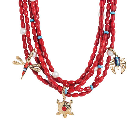 American West Five Strand Red Coral Brass CharmNecklace