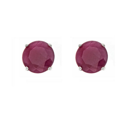 5mm Round Precious Gemstone Stud Earrings, 14KWhite Gold