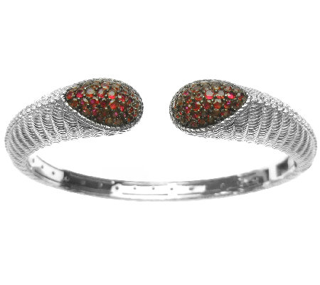 Judith Ripka Sterling Textured & Pave Ruby Cuff