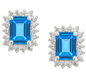 Premier Emerald Cut 1.90cttw Blue Topaz Earrings, 14K - J338225