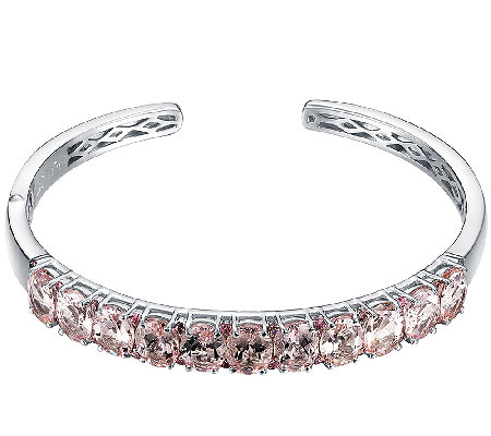 10.00cttw 11-Stone Morganite Cuff, Sterling