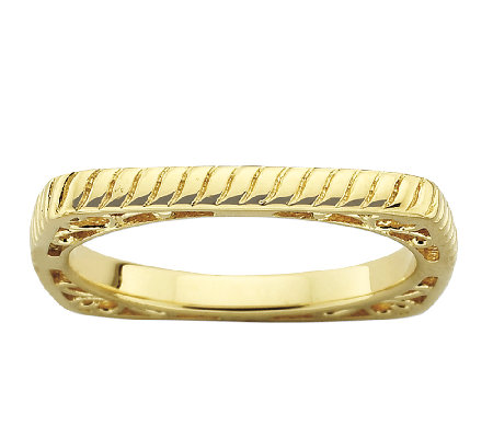 Simply Stacks Sterling & 18K Gold Plated Textured Square Ring