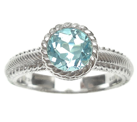 Judith Ripka Sterling 1.00cttw Blue Topaz Soliatire Ring