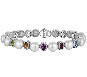 "Judith Ripka Sterling Cultured Pearl & Multi-Gem 8"" Bracelet - J340025"