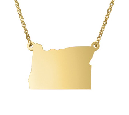 State Pendant Necklace, Sterling & 14K Gold Plated
