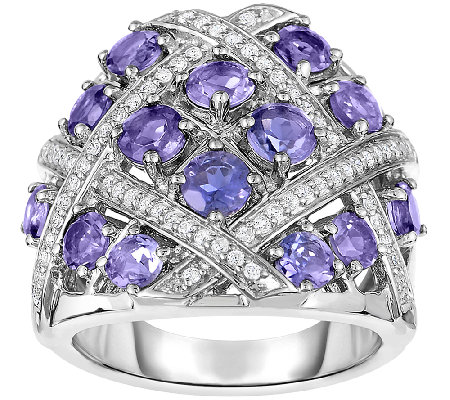 Sterling Iolite & White Zircon Weave Design Ring