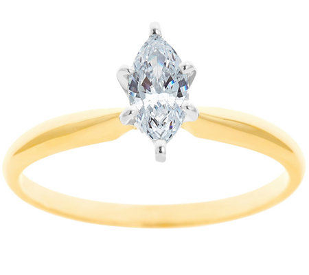 Solitaire Diamond Ring, 14K Gold 1/2 cttw, by Affinity