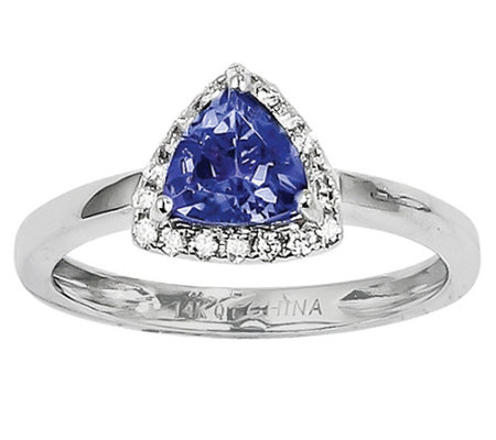 Tanzanite and Diamond Ring, 14K White Gold