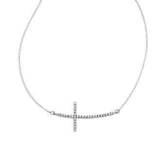 Sterling Sideways Crystal Cross Adjustable Necklace - J342425