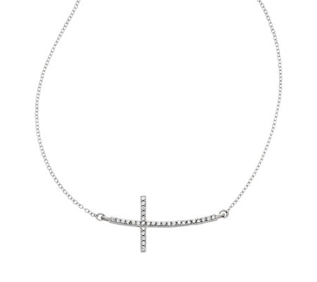 Sterling Sideways Crystal Cross Adjustable Necklace