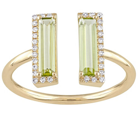 1.00 cttw Peridot and Diamond Accent Split Ring, 14K Gold