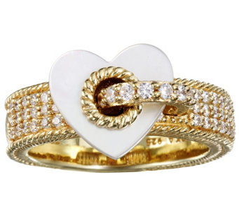Judith Ripka Sterling & 14K Clad Pave with Heart Charm Ring - J342925