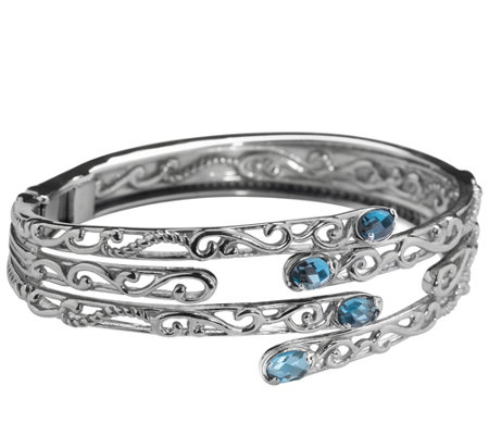 Carolyn Pollack Signature London Blue Topaz Hinged Bangle