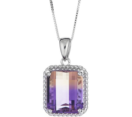 Sterling 9.00 ct Ametrine Pendant with Chain