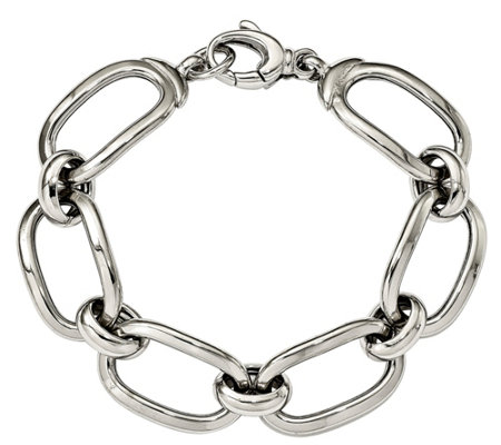 "Sterling Rectangle Link 8"" Bracelet"