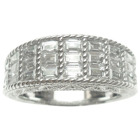 Judith Ripka Sterling & Baguette Diamonique Ring
