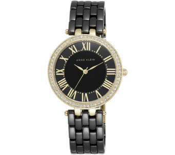 Anne Klein Black Ceramic Watch w/ Crystal Studded Bezel - J344725