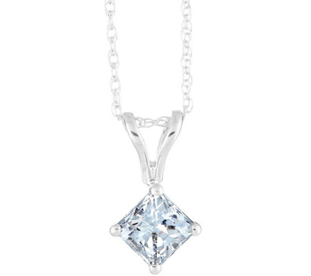 Princess Diamond Pendant, 14K White Gold, 1/3ct, by Affinity