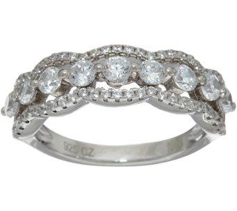 diamonique multi stone scalloped band ring sterling or 14k clad j347125 - Diamonique Wedding Rings