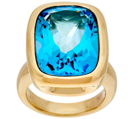 Italian Gold Elongated Cushion Bold Gemstone Ring 14K Gold