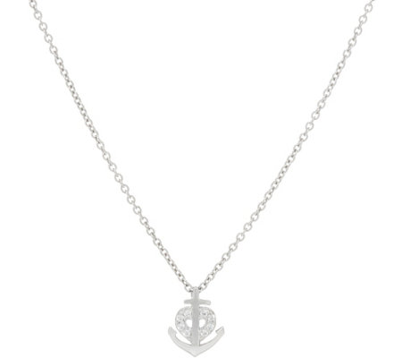 Diamonique Bitty Anchor Pendant, Sterling