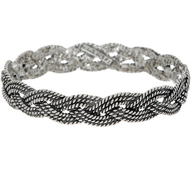 Or Paz Sterling Textured Braided Bangle 24.0g - J350225