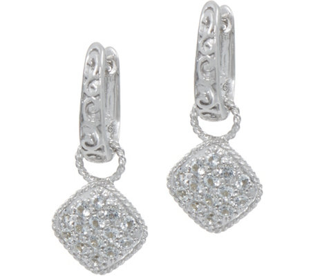 DeLatori Sterling Silver White Topaz Pave Drop Earrings
