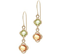 14K Gold and Gemstone Clover Dangle Earrings - J355125