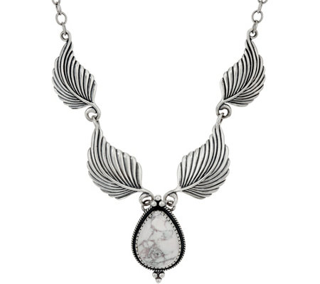 """As Is"" American West Sterling Leaf and Magnesite Necklace"