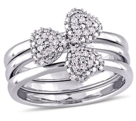 3-pc Diamond Heart Stack Rings, 14K White Gold,by Affinity