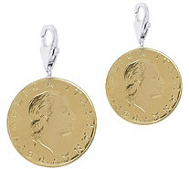 Vicenza Silver Sterling Set of 2 200-Lire Coin Charms - J375625