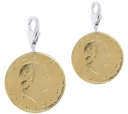 Italian Silver Set of 2 200-Lire Coin Charms,Sterling