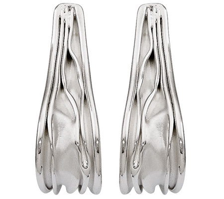 "Sterling ""J"" Hoop Textured Earrings by Silver Style"