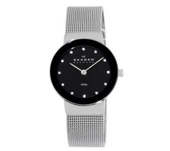 Skagen Women's Silvertone Watch w/ Black ShinyDial - J108126