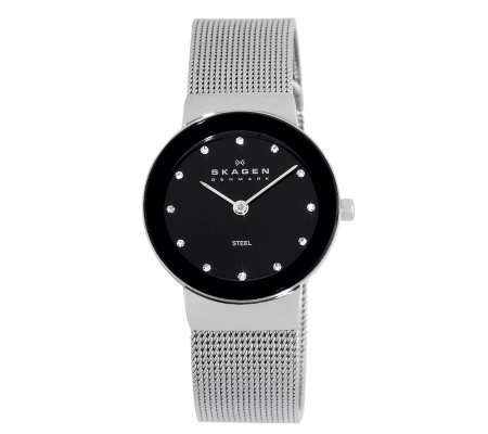 Skagen Women's Silvertone Watch w/ Black ShinyDial