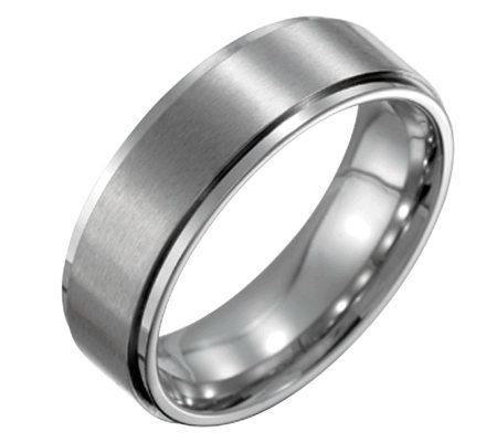 Forza Men's 7mm Steel w/ Ridged Edge SatinPolished Ring