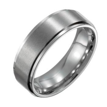 Forza Men's 7mm Steel w/ Ridged Edge SatinPolished Ring
