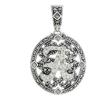 Suspicion Sterling Marcasite & Crystal InitialEnhancer