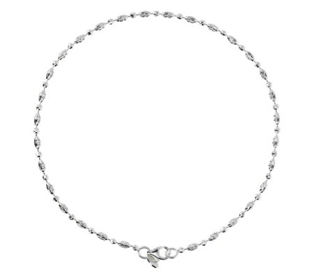 "UltraFine Silver 11"" Diamond-Cut Bead Anklet"