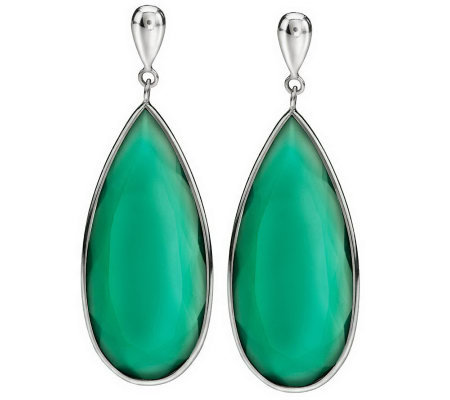 """As Is"" Colors of Chalcedony Elongated Sterling Dangle Earrings"