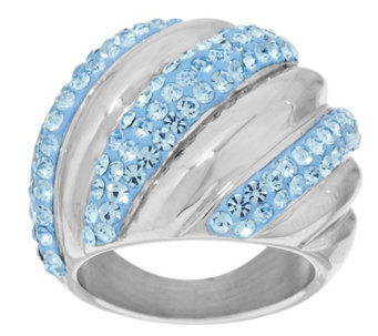 Stainless Steel Ribbed Design Crystal Ring - J294626