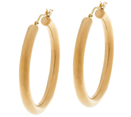 """As Is"" Oro Nuovo 1-1/2"" Bold Polished Round Hoop Earrings, 14K"